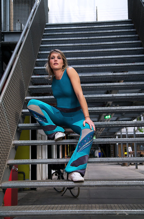 Turquoise Yogini DURGA Upcycled Stretch Catsuit