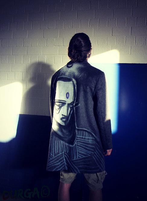 Upcycled Gray Graffiti Art Coat Men's Alternative Urban Clothing