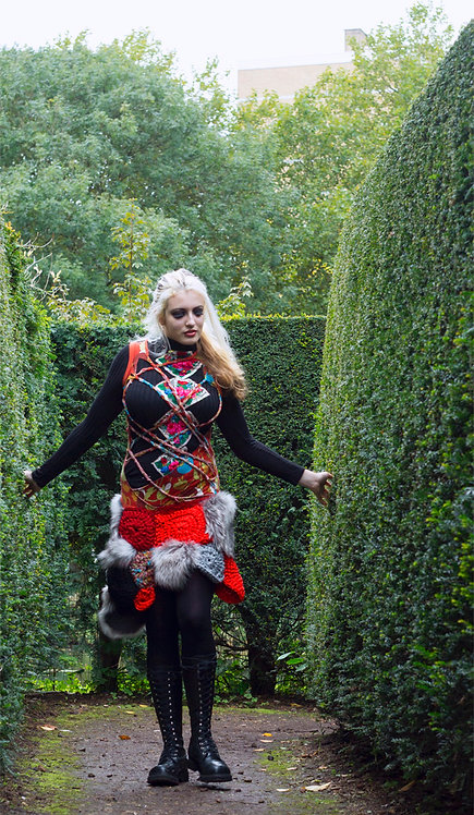 Alice in Wonderland, unique design clothes, ethical clothing, recycled material, crochet dress, fantasy, Durga Universe