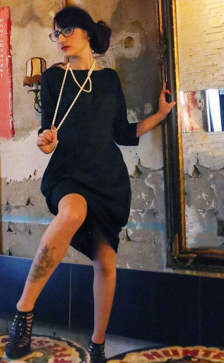 Grace Kelly DURGA 50s Vintage Dark Grey Silk Dress