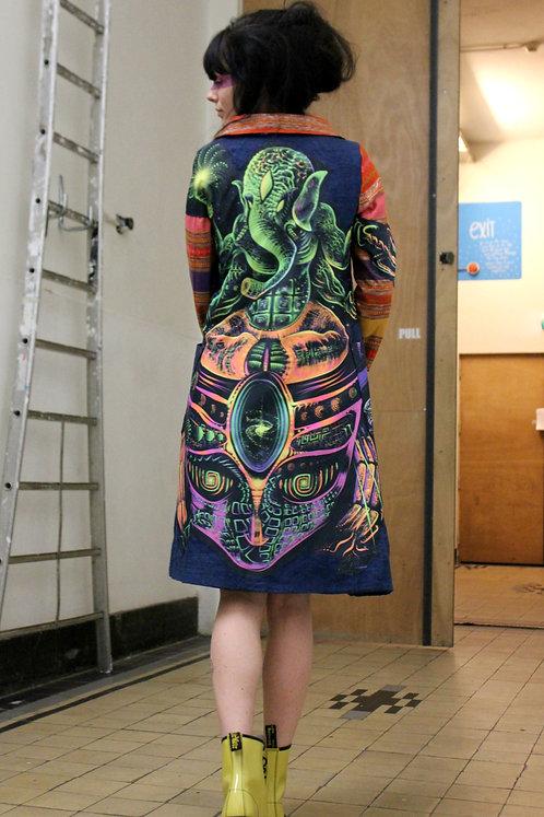 Durga Universe, Art Haute Couture, Ethical Clothing, Ganesha, Hemp, UV light Coat