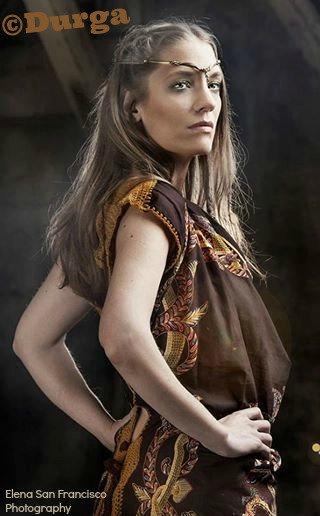 Brown DURGA Upcycled Tibetan Scarf Dress 1