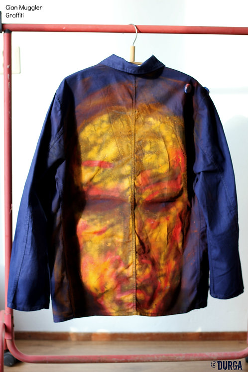 Blue Jacket Front, Graffiti artist Muggler hand painted, unique design clothes, men's alternative clothing