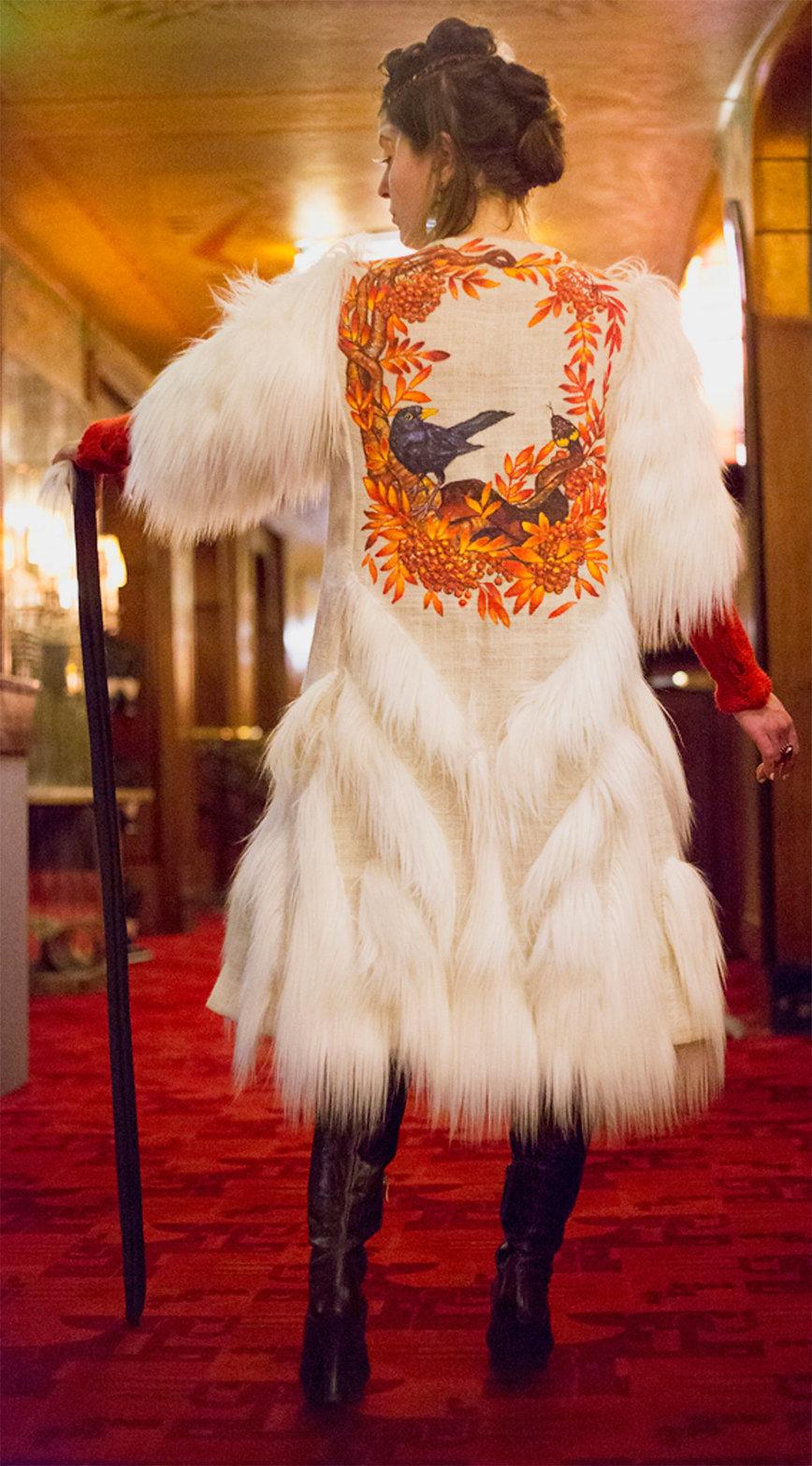 Hemp-DURGA-art-coat-white-foux-fur-triba