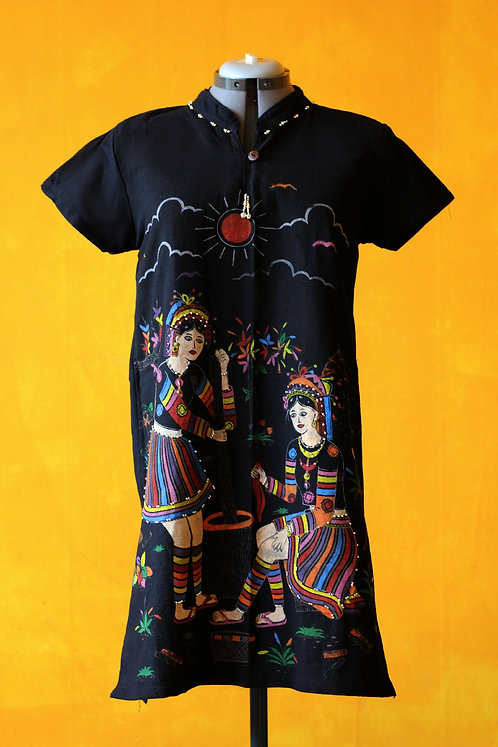 Ethnic Handcrafted Painted Mini Linen Dress