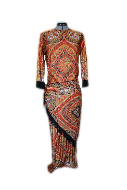 Durga Universe, Psychedelia Robe Dress, Bright Orange, Geometry, Gypsy, Bohemian, Hippie dress