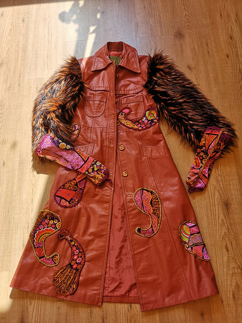 Psychedelia Goddess DURGA Upcycled Vintage Long Leather Art Coat