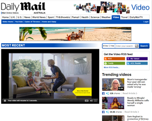 A screen grab of a video ad produced by Global Pictures displayed on the Daily Mail.