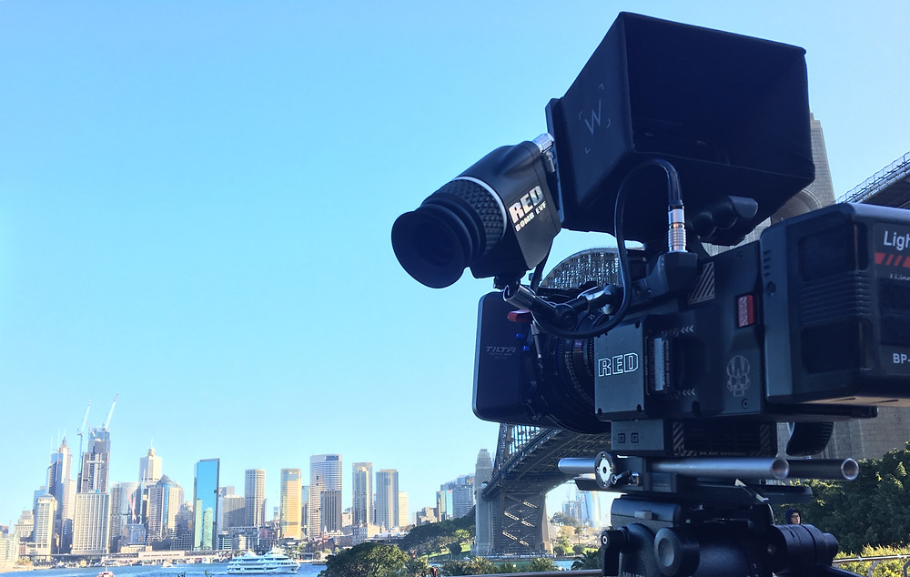 high end RED video camera with sydney background
