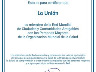 La Unión ingresa como miembro de Red Mundial de Ciudades Amigables con las Personas Mayores