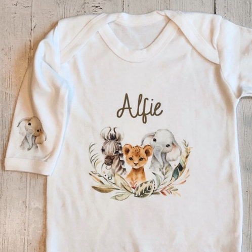 Personalised Wild Animals Baby Grow