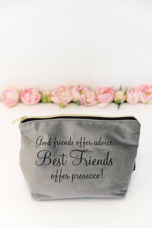 Best Friends Velvet Makeup Bag