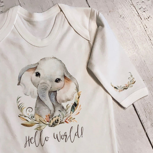 'Hello World!' Elephant, Zebra or Lion Baby Grow