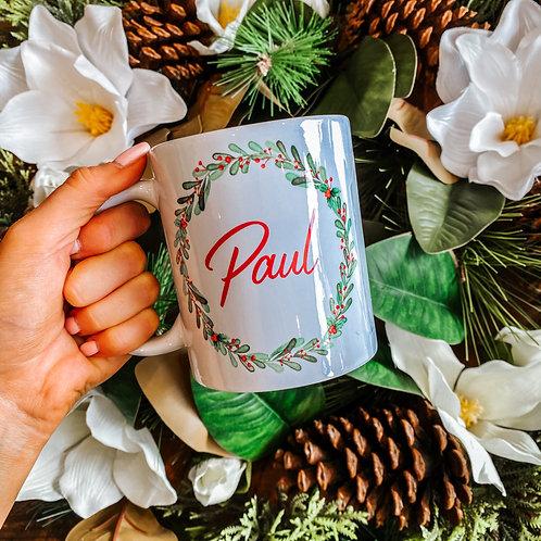 Mistletoe Wreath Personalised Mug