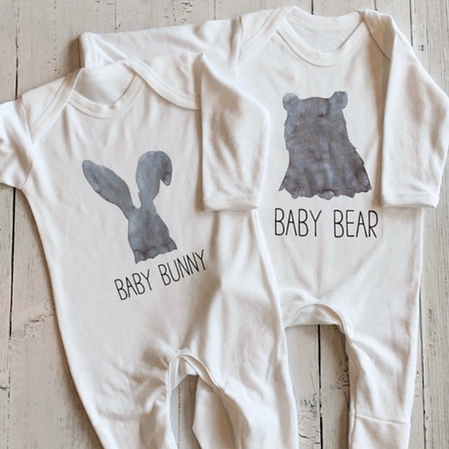 Pack of Two, Bunny and Bear Baby Grow's