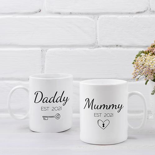Pair of Mummy & Daddy Key & Padlock Mugs