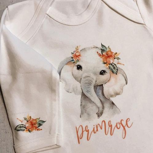 Personalised Elephant Baby Grow