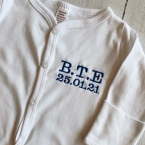 Embroidered Initials Baby Grow