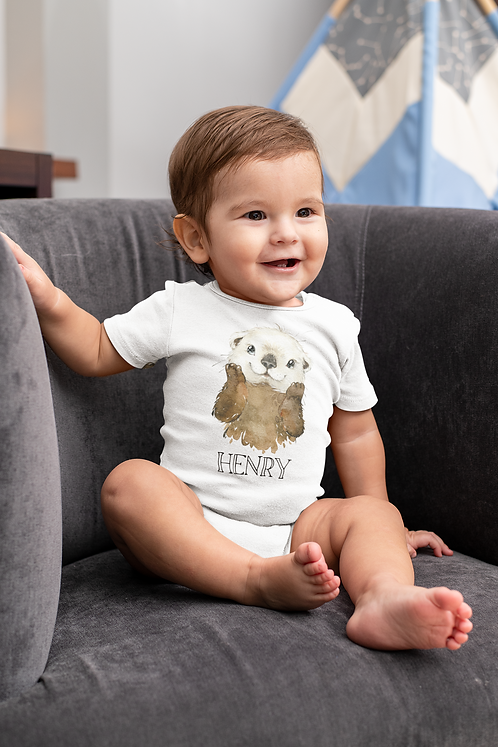 Personalised Otter Baby Grow