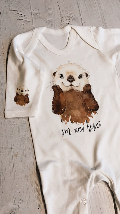 'I'm New Here!' Otter, Bunny or Moose Baby Grow