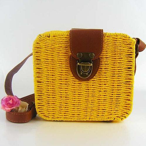Yellow Alice Woven Handbag
