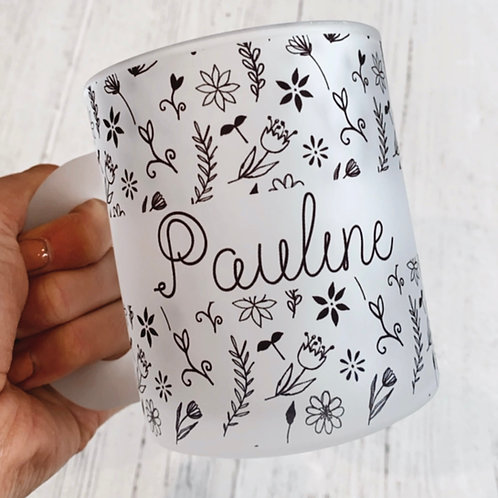 Linear Floral Personalised Mug