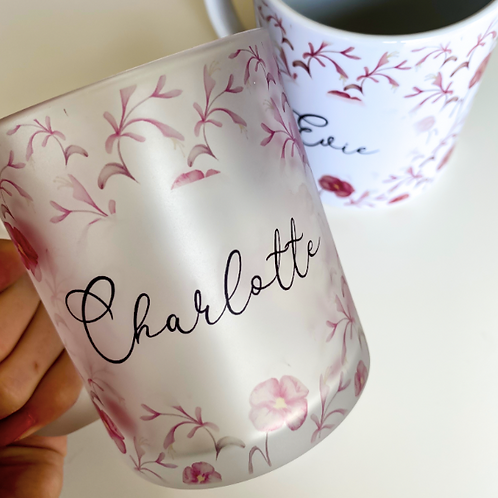 Primrose and Honeysuckle Print Personalised Mug