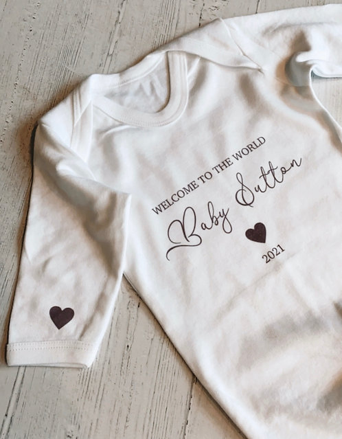 Welcome to the World Heart Baby Grow