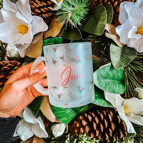 Holly & Mistletoe Print Personalised Mug