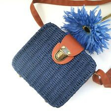 Navy Alice Woven Handbag