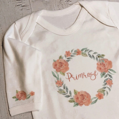 Personalised Floral Wreath Baby Grow