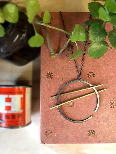 Double Bar Piston Ring Necklace
