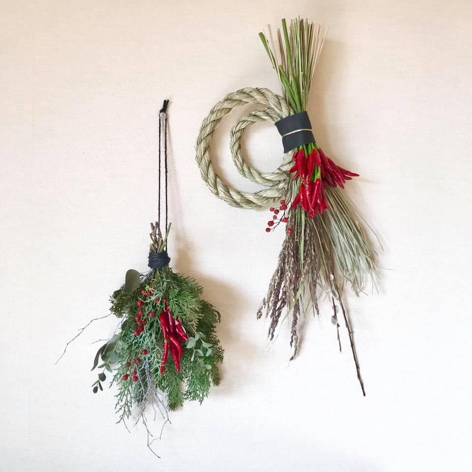 お正月飾りと季節の壁飾り