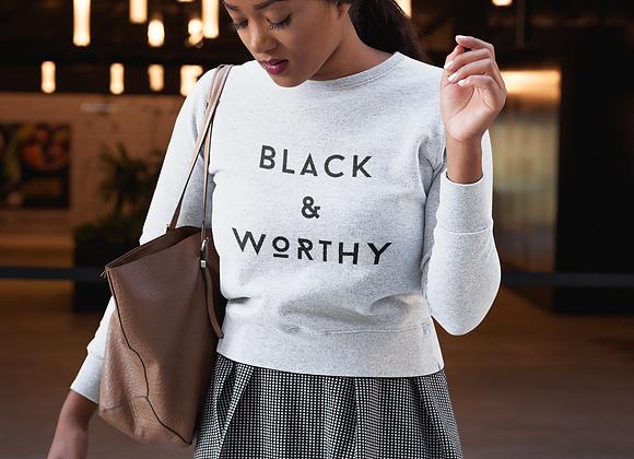 Black & Worthy Premium Sweatshirt (white)