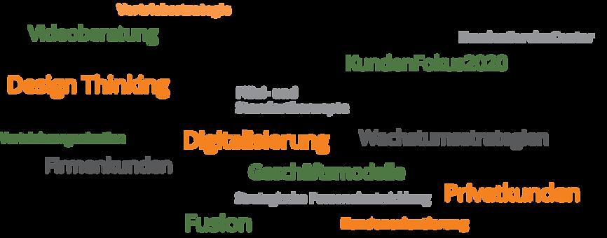 Wachstumsstrategien, Vertriebsstrategie, Geschäftsmodelle, Vertriebsstrukturen, Vertriebsorganisation, Vertriebssteuerung, Digitalisierung, Filial- und Standortkonzepte, Videoberatung, KundenServiceCenter, Effektivität und Effizienz im Vertrieb (Lean Management), Projektmanagement, Privatkunden, Firmenkunden, Kommunikationskonzepte, Kontomodelle und Preise gestalten, Veränderungen gestalten / Change Management, Design Thinking, Kundenworkshops (Fokusgruppen), Strategische Personalentwicklung, KundenFokus2020, Kosten, Erträge