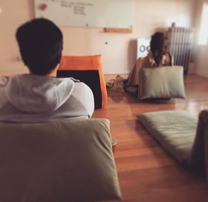 Meditating in our cozy center ✌️ on this snowy day #meditation #dedication #innerpeace #parkslope #brooklyn