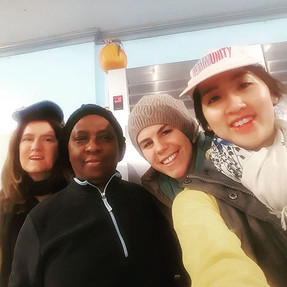 Diana, Lora, Elizabeth and Heather volunteering at Chips' food kitchen making hot meals as action meditation! #meditation #commuityservice #