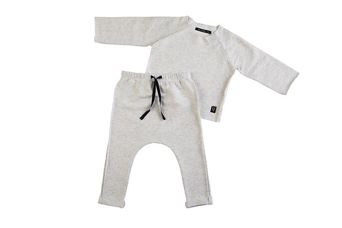 Two Piece Cotton Set, Light Grey 3-6