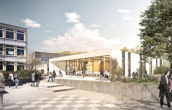 Zubau Kantine mit Vitalküche auf dem Gelände des Gymnasiums Grootmoor I Hamburg