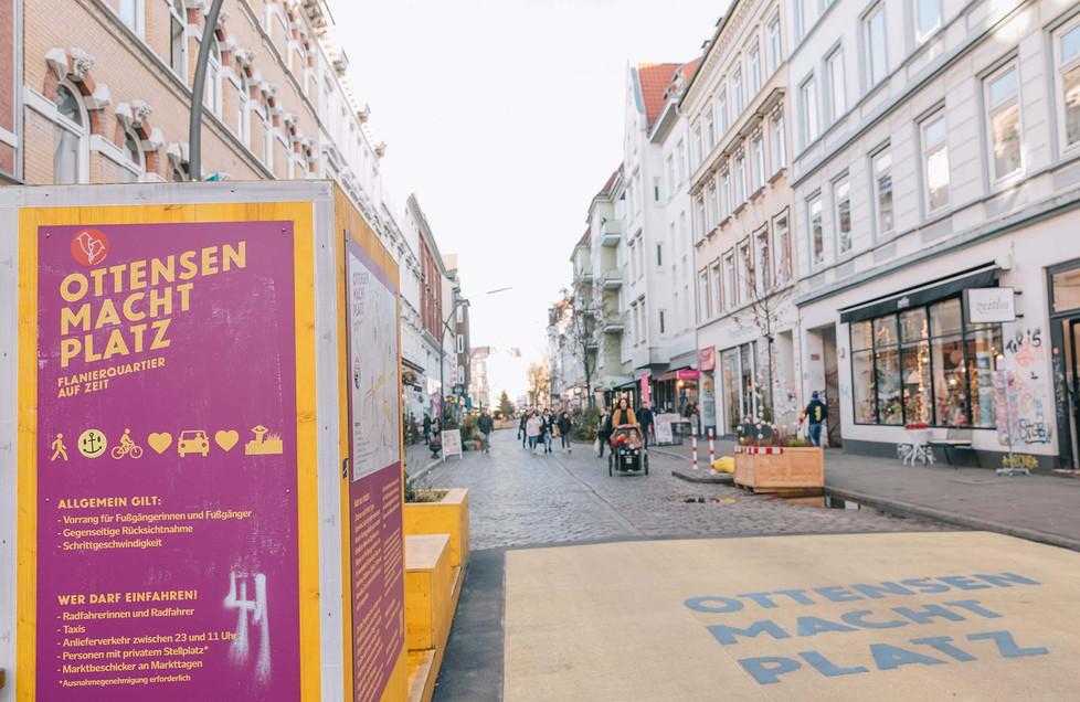 Autofreier Alltag in der Ottenser Hauptstraße
