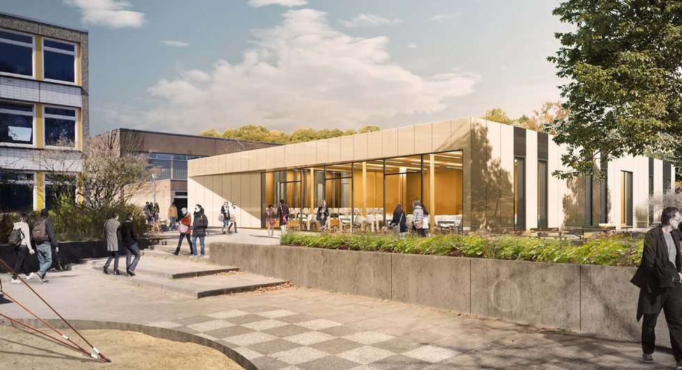 Perspektive vom Schulhof auf den Neubau
