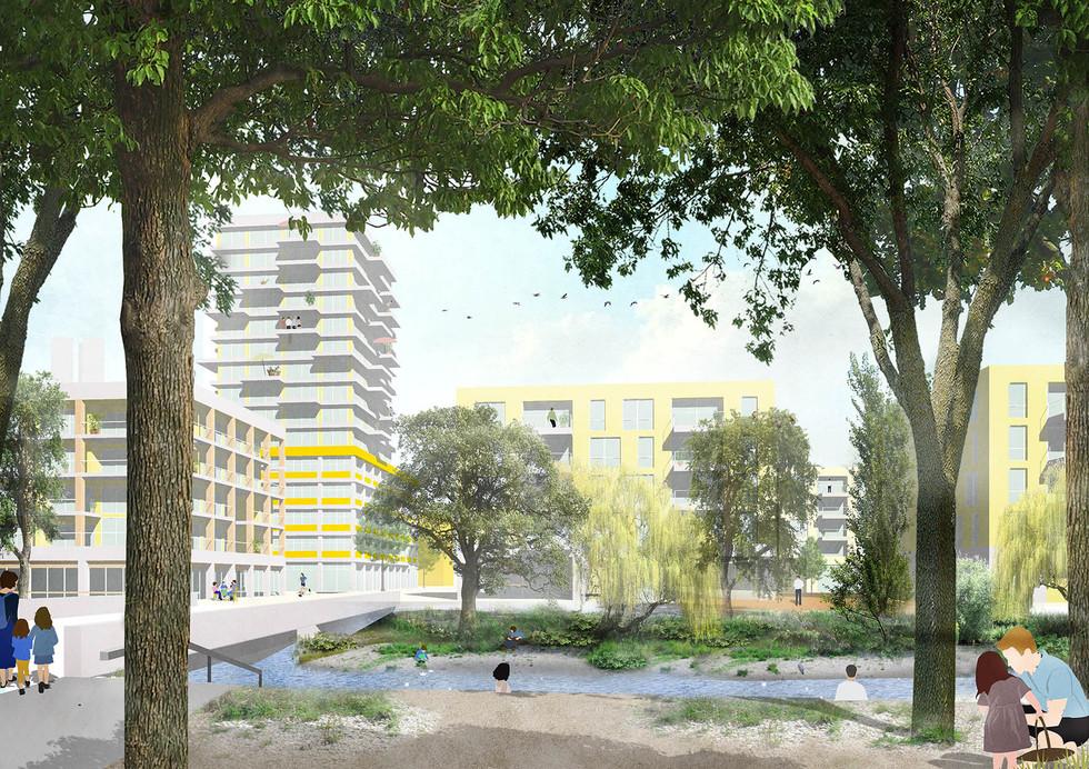 StadtWerk: Blick über die Murr mit Hochhaus, Wohnen und Nahversorgung