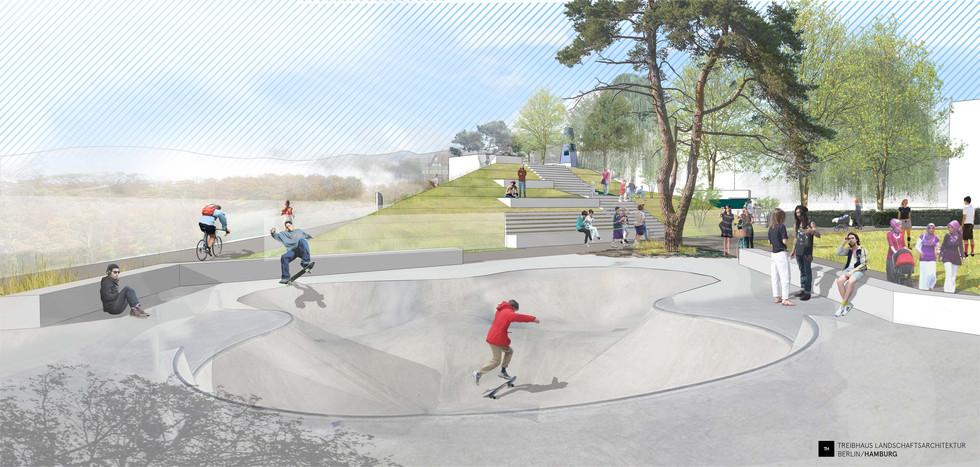 Perspektive auf die Skatebowl