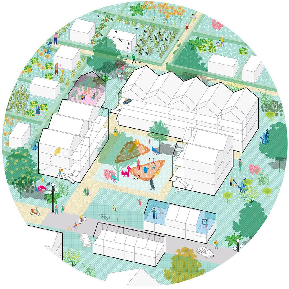 Park mit urbaner Landwirtschaft