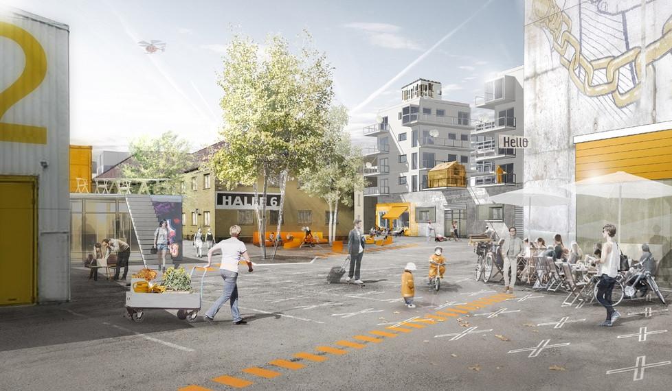 Labor: Schrittweise Ergänzung der bestehenden Gebäude und Nutzungen durch eine Mischung aus Arbeiten und Wohnen, Kunst und Kultur. Aneignungsoffener, vielfältig nutzbarer öffentlicher Raum.