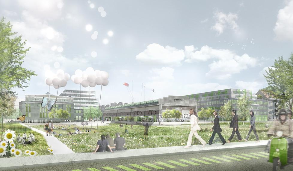 Zentrale grüne Mitte des Kreativquartiers vor den denkmalgeschützen Tonnen- und Jutierhallen