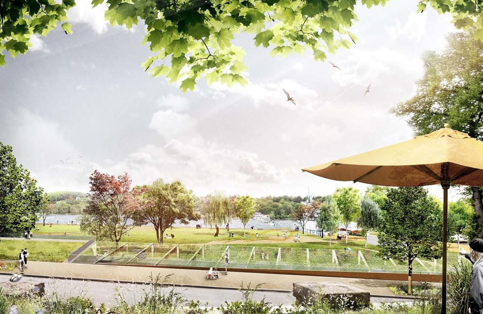 Blick auf die neue Parklandschaft
