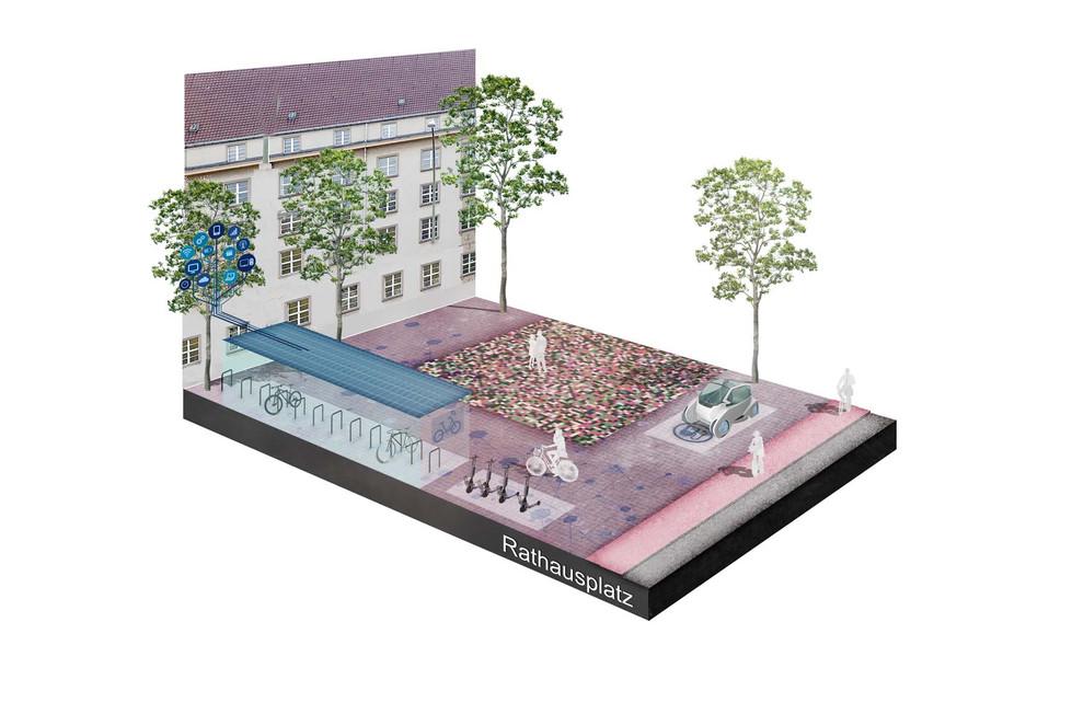 Axonometrie Rathausplatz