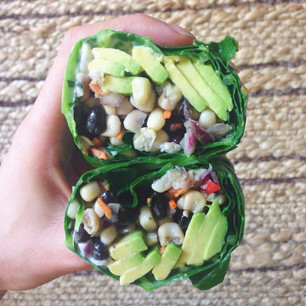COLLARD GREEN WRAP WITH BLACK BEAN AND CORN SALSA WITH AVOCADO