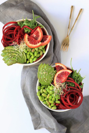 BALSAMIC GINGER BEET NOODLE BOWL WITH AVOCADO, BLOOD ORANGE & EDAMAME